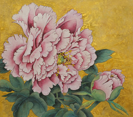 pink peony flower on a gold background