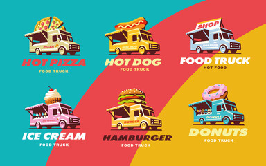 Set illustrations food truck