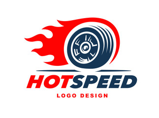 Wheel logo. Fast speed with a fiery trail