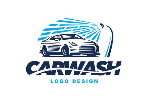 Logo car wash on light background.
