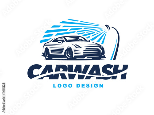 Logo car wash on light background stock image and for Elit templates sticker
