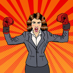 Business Woman in Boxing Gloves Celebrating Success in Business. Pop Art. Vector illustration