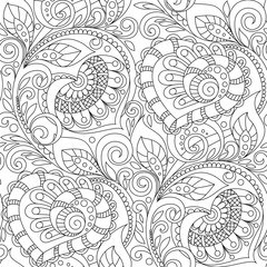 Seamless pattern with hearts ornament. Floral decorative pattern in zentangle style. Adult antistress coloring page. Black and white hand drawn doodle for coloring book