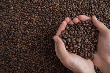 coffee beans, hand