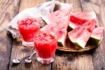 glasses of watermelon granita