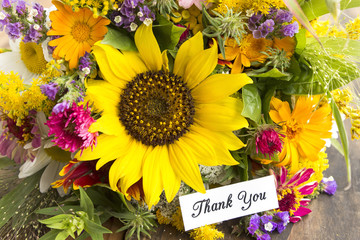 Thank You Card with Bouquet of Summer Flowers