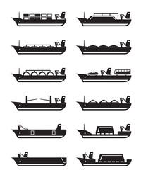 Merchant and cargo ships - vector illustration