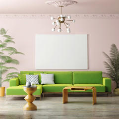 Mock up blank poster on vintage living room, 3D rendering
