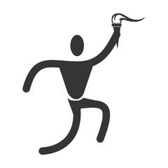 Man trainning sport pictogram isolated flat icon, vector illustration.
