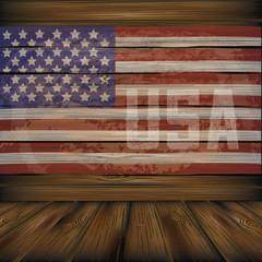 Vintage wooden American flag background with copy space. EPS 10 vector.