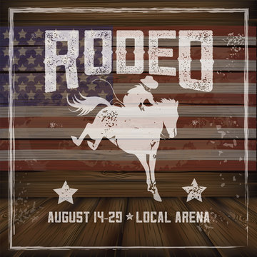 Wooden American flag rodeo background with copy space. EPS 10 vector.