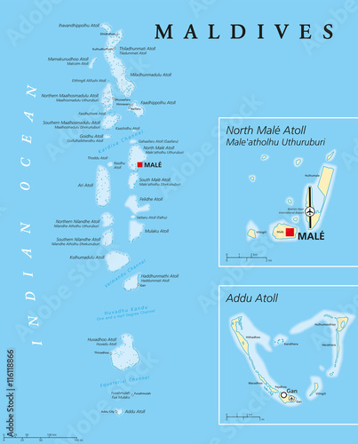 Maldives political map with capital Male on Kings Island and