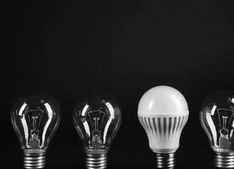 Electric bulbs on grey background