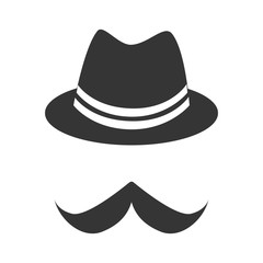 Vintage hat mustache , isolated flat icon with black and white colors.
