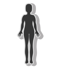 Woman body silhouette , isolated flat icon with black and white colors.