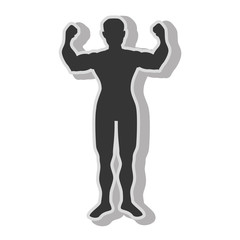 Man bodybuilding muscles , isolated flat icon with black and white colors.