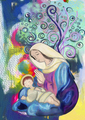 Virgin Mary and child Jesus. Contemporary painting.