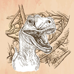 Dino, T Rex. DINOSAURS - Life in the prehistoric time. Freehand sketching, line drawing. An hand drawn vector illustration. Colored background is isolated. Line art technique. Vector is easy editable.