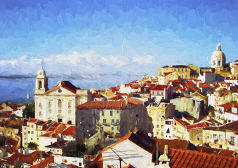 Lisbon landscape. Contemporary oil painting.