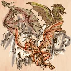 Dragons - An hand drawn vector. Colored line art.