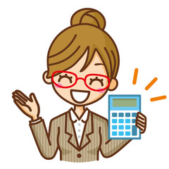 眼鏡のビジネスウーマン 電卓