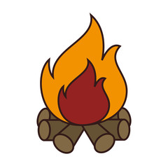 Wood fire flammes ,isolated colorful icon design