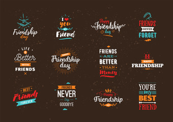 Happy Friendship day vector typographic design.