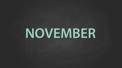 november month text written on the blackboard with chalk board effect vector graphic