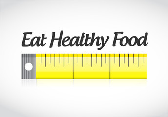 eat healthy food measuring tape concept