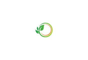 round green leaf organic logo