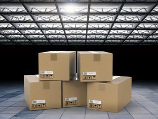 heap of stockpile with warehouse background