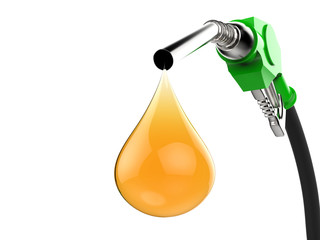 gas pump nozzle with droplet of oil isolated on white