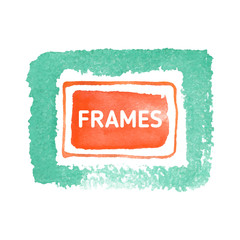 Green and red frames for creation of logo design, bright icons, beautiful buttons and different emblems.