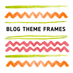 Watercolor decoration lines and frames with different shapes.