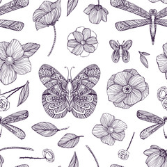 Seamless pattern with black and white ornamental flowers, butterflies, dragonflies. Monochrome background: Floral Texture, Decorative roses, peony, abstract elements. Hand drawn vector illustration.