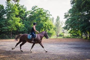Молодая наездница и лошадь тренируются перед соревнованиями. Конный спорт