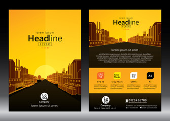Brochure template design. Concept of industrial plant and manufacture building. Vector illustration