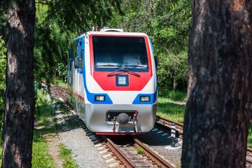 Narrow-gauge locomotive in the city park