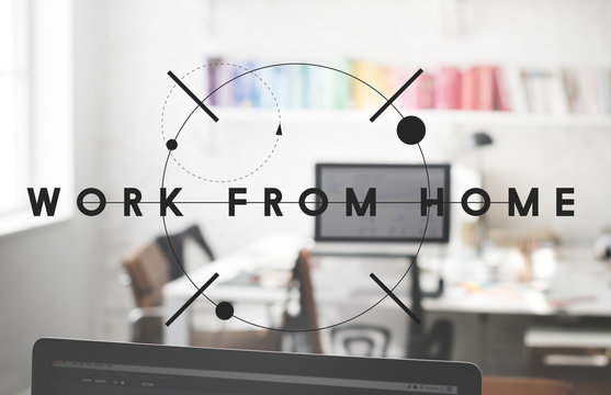 Work From Home House Interior Office Busienss Concept
