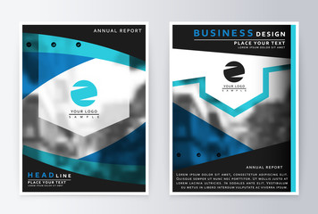 Layout design template, annual report brochure. Business flyer design template background blue