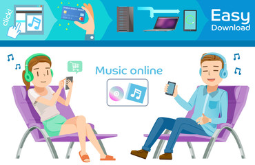 Buy music online in internet. Graphic step for order. people relax on home. Modern lifestyle and smartphone. Transactions through the technology.