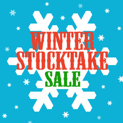 Background with text Winter Stocktake-Sale,vector illustration