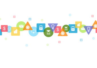Bright social communication icons tech background