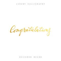 Congratulations calligraphic inscription. Design decor greeting cards Congratulations phrase.