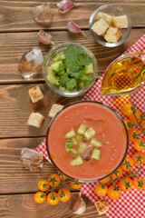 Cold soup gazpacho with yellow tomatoes