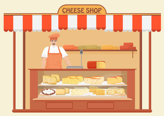 Cheese Shop. Man Seller. Store shelves with different kind of Cheese set. Parmesan mozarella swiss emmentaler cheddar gouda icons collection.
