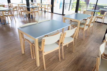 Tables And Chair In Empty Cafe