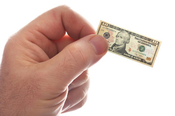 small bill in the hands of