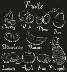 Vintage fruits. Hand-drawn chalk blackboard sketch organic fruit collection.