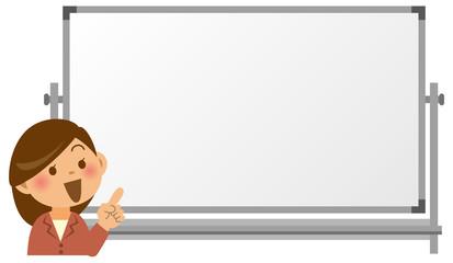 ホワイトボードの前で指を指している女性教師のイメージイラスト